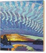 Sunset Waves Nite Wood Print