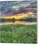 Sunset West Crooked Lake Wood Print