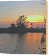 Sunset West Of Myers Bagels Vertical Wood Print