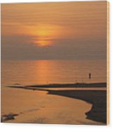 Sunset While Fishing At River Mouth And Lake Michigan Wood Print