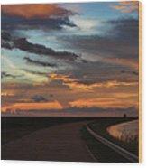 Florida Sunset Winding Road Wood Print