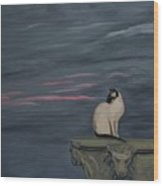 Sunset With A Siamese Cat On A Balustrade Wood Print