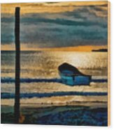 Sunset With Boat Wood Print