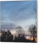 Sunset With Crescent Moon Wood Print