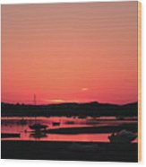 Sunset With Pink Afterglow Wood Print