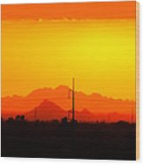 Sunset With Power Pole Wood Print