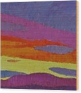 Sunset With Purple Clouds Wood Print