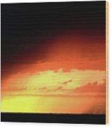 Sunset With Rain In Scenic Saskatchewan Wood Print