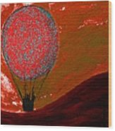 Sunset With Red Hot Air Balloon. Wood Print
