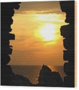 Sunset With Stone Frame Wood Print