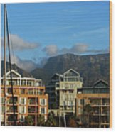 Sunset With Table Mountain Wood Print