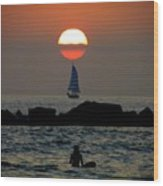 Sunset With Yacht And Surfer Wood Print
