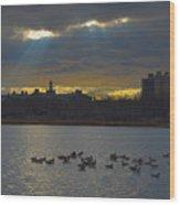 Sunset,lake, Wood Print