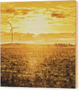 Sunsets And Golden Turbines Wood Print