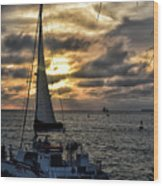 Sunsets And Sails Wood Print