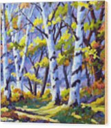 Sunshine And Birches Wood Print