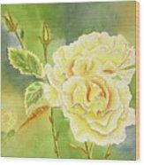 Sunshine And Yellow Roses Wood Print