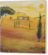 Sunshine In Tuscany In The Morning Wood Print
