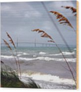 Sunshine Skyway Bridge Viewed From Fort De Soto Park Wood Print