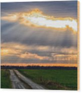 Sunshine Through The Clouds Wood Print