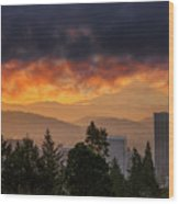 Sunsrise Over City Of Portland And Mount Hood Wood Print
