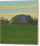 Sunsset On A Barn Wood Print