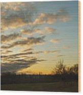 Sunup On The Farm Wood Print