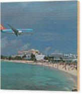 Sunwing Airline At Sxm Airport Wood Print