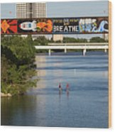 Sup Stand Up Paddle Board Couple Row Under The Focus One Point And Breathe Wood Print