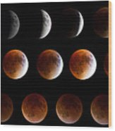 Super Blood Moon Eclipse Wood Print