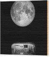 Super Moon Airstream 3 4 Wood Print