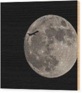 Super Moon And Plane Wood Print