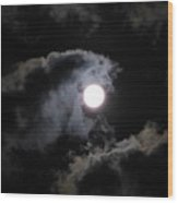 Super Moon Held In The Arc Of Clouds Wood Print