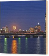 Super Moon Over Boston Wood Print by Juergen Roth