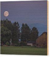 Super Moon Over Snohomish Wood Print