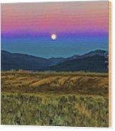 Super Moon Over Taos Wood Print