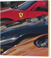 Supercars Ferrari Emblem Wood Print