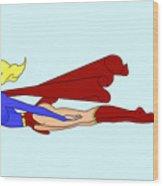 Supergirl On A Cruz Wood Print by Lynn Rider