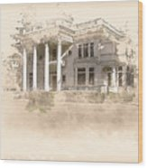 Superintendent's Home Drawing Wood Print
