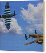 Supermarine Spitfire Mk1 And Avro Lancaster - Oil Wood Print