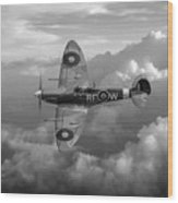 Supermarine Spitfire Vb Black And White Version Wood Print
