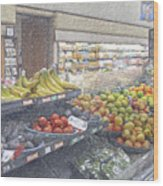 Supermarket Produce Section Wood Print