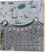 Supermarket Roof And Many Cars In Parking, Viewed From Above. Wood Print