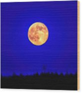 Supermoon Aglow - Painted Wood Print