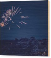 Supermoon And Fireworks  Wood Print