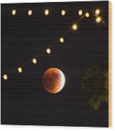 Supermoon And Twinkle Lights Wood Print