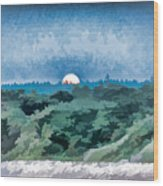 Supermoon Rising - Painted Effect Wood Print