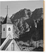 Superstition Mountain And Elvis Church Wood Print