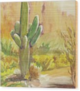 Superstition Saguaro Wood Print