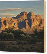 Superstitions At Sunset  Wood Print